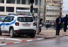 سيارة تابعة للشرطة الفلسطينية في نابلس