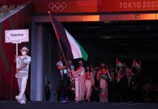 دخول الوفد الفلسطيني خلال خفل افتتاح أولمبياد طوكيو 2020