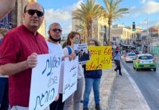 النائب أبو شحادة في مظاهرة احتجاج على جرائم أجهزة الأمن الإسرائيلية، يافا