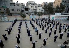 الطابور الصباحي في مدارس غزة