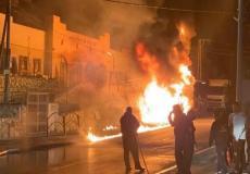 من مكان الحريق في كفر كنا