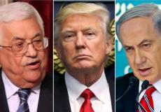 بنيامين نتنياهو رئيس الحكومة الإٍسرائيلية والرئيس الأمريكي دونالد ترامب والرئيس الفلسطيني محمود عباس