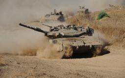 دبابات الجيش الاسرائيلي على حدود غزة