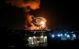 قصف غزة ليلا