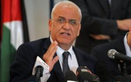 أمين سر اللجنة التنفيذية لمنظمة التحرير الفلسطينية صائب عريقات - ارشيفية -