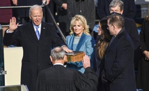 الرئيس المنتخب، بايدن خلال تنصيبه (أ ب)