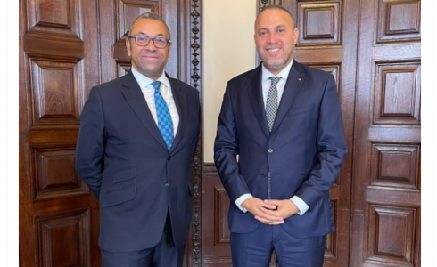 حسام زملط مع وزير الدولة للشؤون الخارجية البريطاني جيمس كليفيرلي